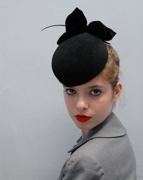 Black Pillbox Hat w/Silk Velvet Bow - Wedding Hat - Timeless - Black Cocktail…