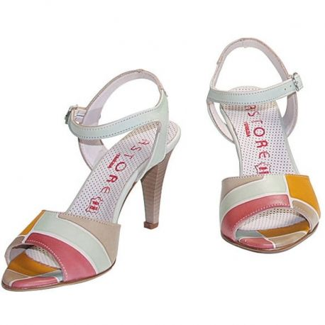ACQUERELLO OASI SQUARE NATURAL LEATHER SANDALS, HAND PAINTED By Astore Venezia
