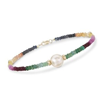 17.50 ct. t.w. Multicolored Sapphire and 9.5-10.5mm Cultured Pearl Bracelet in 14kt Yellow Gold