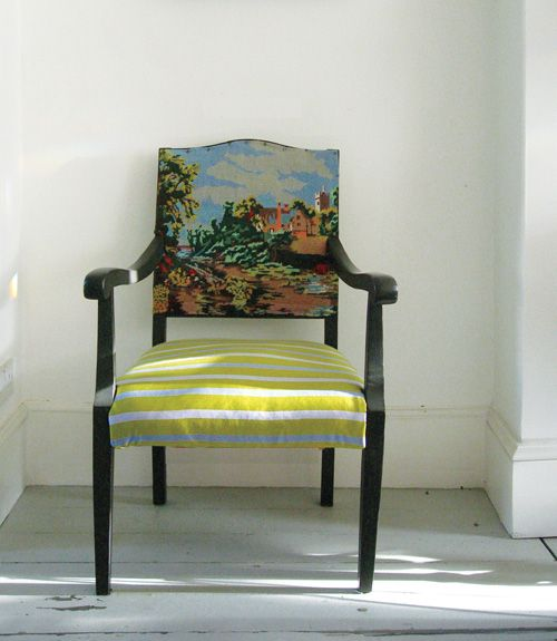 funky chair!!!: Decor Ideas, Opposites Attraction, Design Sponge, Home Decorating Ideas, Home Design, Fabrics, Old Chairs, Chairs Upholstery, Cool Chairs