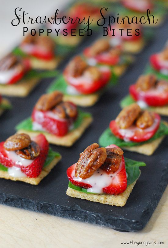 Strawberry Spinach Poppy Seed Bites are an easy, yet impressive appetizer! #TriscuitSnackoff #client http://www.thegunnysack.com/2014/08/strawberry-spinach-poppy-seed-bites.html