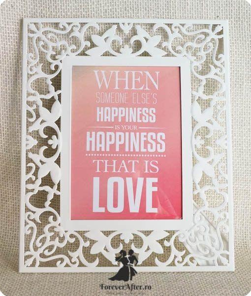 Rama cu mesaj Happiness | Accesorii nunta - Mesaje | ForeverAfter.ro