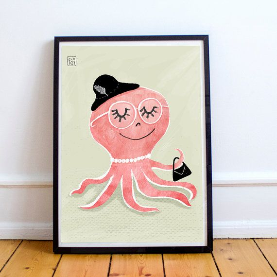 Octopus poster. Children's illustration art. by ThePocketFreak