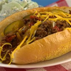 "Rhode Island Dynamite Sandwich - ""A Rhode Island exclusive. Kind of like a Sloppy Joe but far superior. Spicy enough to earn it's name, it's best washed down with a good beer. For you non Rhodey people, torpedo rolls are just the long sandwich rolls."""