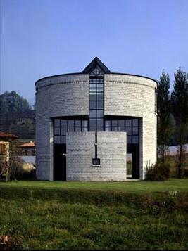 The round house in Stabio, Ticino, Switzerland.1980-1982. Mario Botta