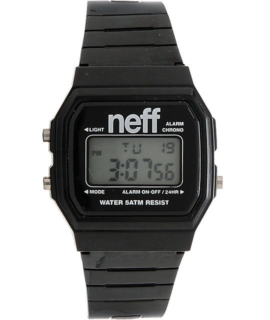 Way better than a giant clock and chain danglin from your neck and skanky girls competing for your affection. The black Flava digital watch from Neff Clothing has a clean and classic digital display with an alarm, military time, date and backlight. The bl