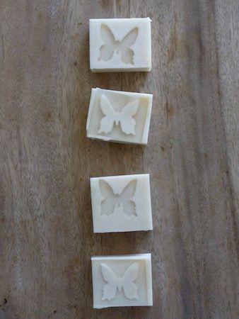 handmade soap, butterfly embedded