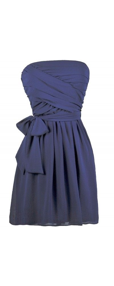 Lily Boutique Kylie Crossover Chiffon Strapless Dress in Royal Blue, $38 Royal Blue Bridesmaid Dress, Cute Online Boutique Dress, Blue Summer Dress www.lilyboutique.com