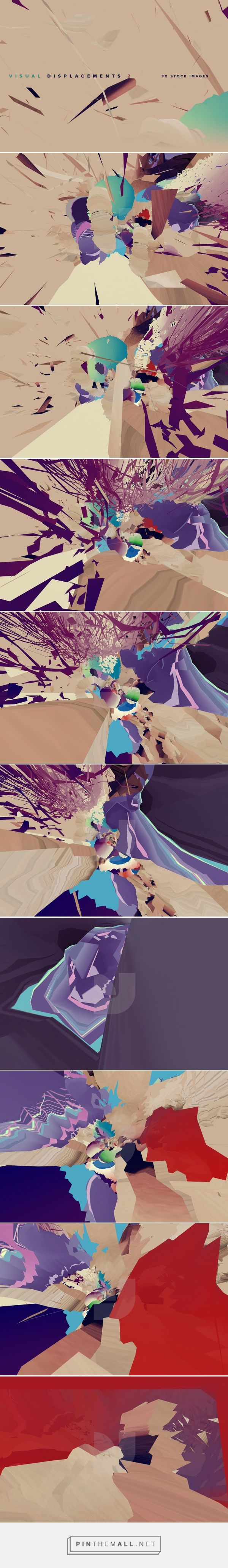 Visual Displacements 2 - Graphics - YouWorkForThem - Designed by YWFT Michael Paul Young - This product download contains 9 files. This is a collection of experimental 3D renders designed to help fill the void behind your layout design. Use these images as backdrops in your print, mobile app, web and or video project. Images are saved as 72 DPI jpegs, but at high resolution pixel sizes of 5000 x 2813 (pixels). (affiliate)