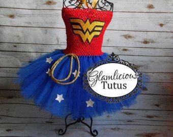 Pregunto Vestido de mujer | Tutu de mujer maravilla | Vestido de super héroe | Listado de recién nacido-Niño talla 12