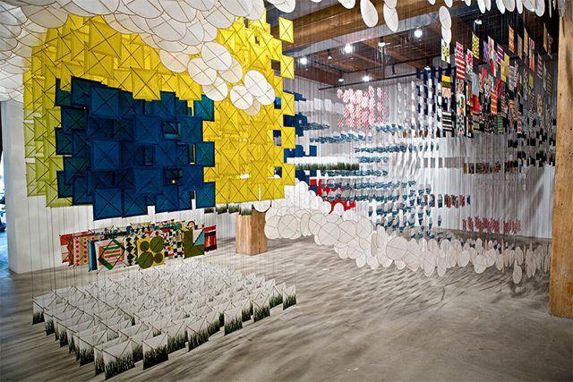 Gas Giant: An Enormous Suspended Kite Installation by Jacob Hashimoto kites installation