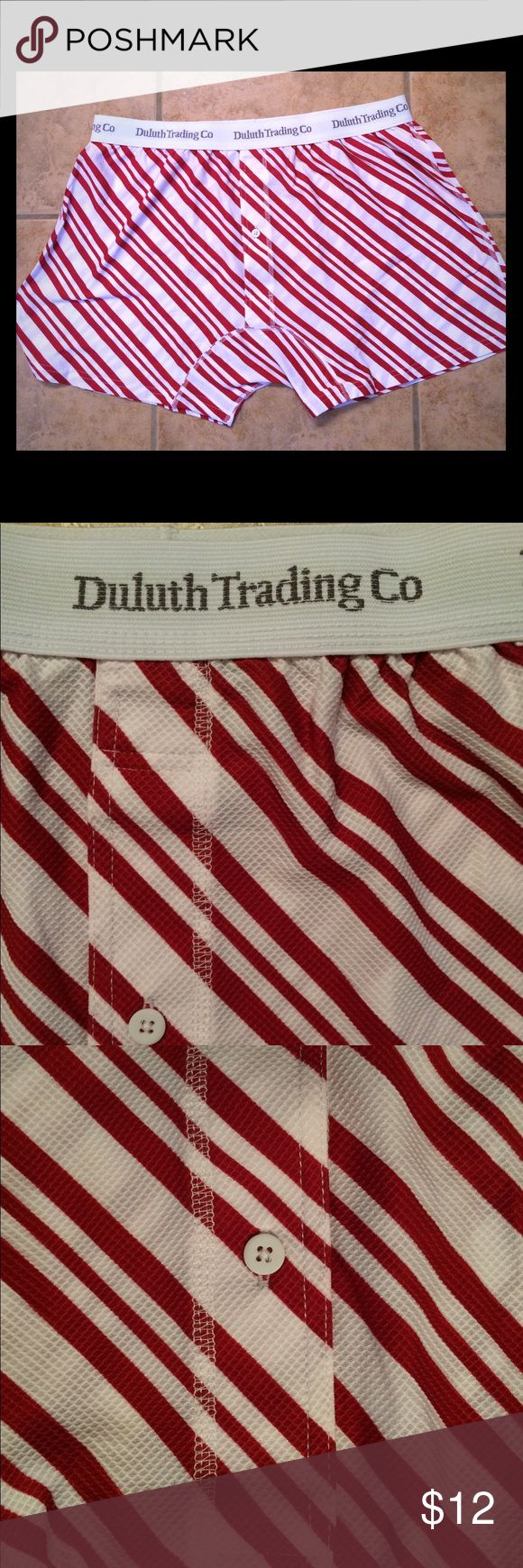 Men's Duluth Trading Co. Boxer Shorts These boxer shorts are all decked out for Christmas. They are new and never been worn. They are from the Duluth Trading Company. The fabric is red and white diagonal stripes which will make you look slimmer to. The fabric feels very comfortable and has 93% Nylon, and 7% Spandex and is machine washable. Duluth Trading Company Underwear & Socks Boxers