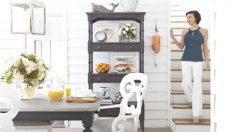 Stanley Furniture Costal Cottage look. Take your dining room on a relaxed journey. Enjoy peaceful reflections of coastal vacations and times surrounded by the mist of the sea. This collection is available at Good's Home Furnishings in Pineville NC.