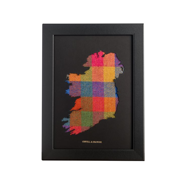 """Summer Check"" - Map of #Ireland with luxurious Donegal #tweed underlay. Designed and handmade in Ireland."
