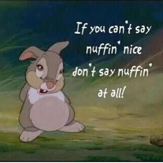 Probably my all-time favorite Walt Disney movie quote from Thumper.........and it is so hard to do some days.