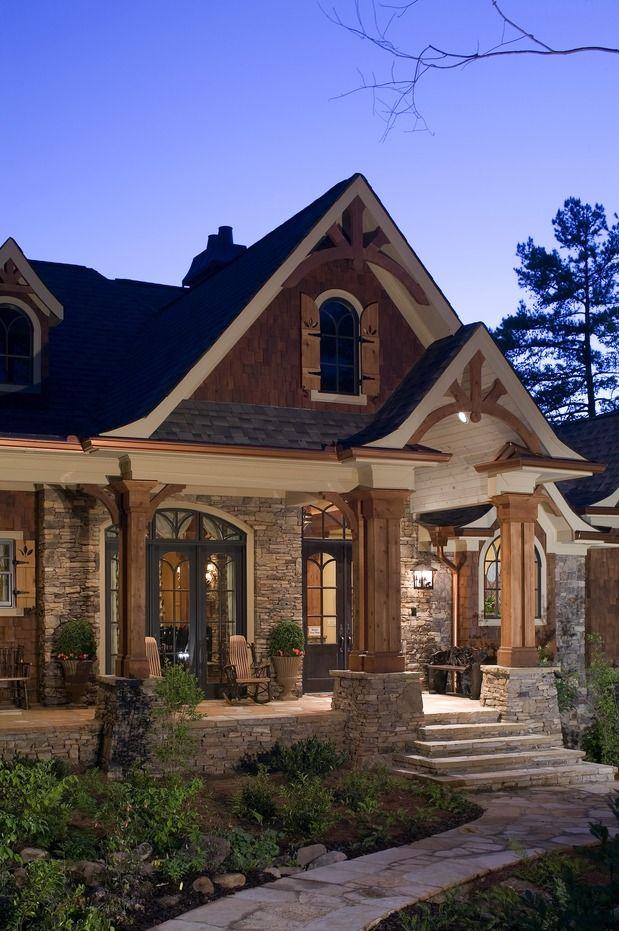Stone and wood exterior I LOVE this combo. Yes I have many favorite dream  home styles. I'll pick the more affordable one when it's time to build.