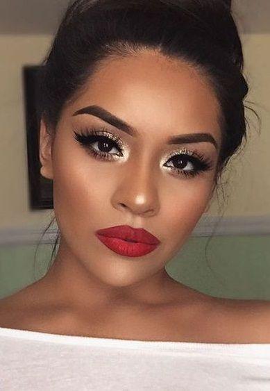 pretty makeup. red lipstick. gold eyeshadow. #mac #rubywoo
