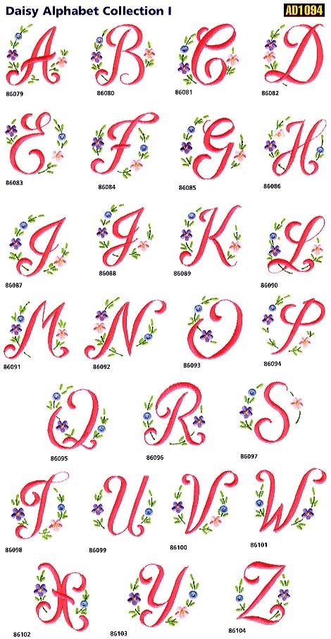 Daisy Alphabet Free Embroidery