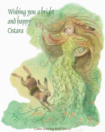 Luna Dancing with Eostre by Wendy Andrew
