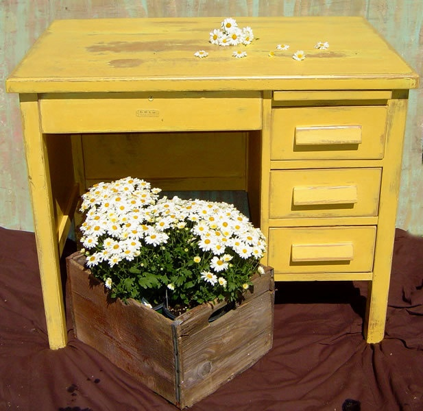 RUSTIC OFFICE DESK   Small Wood Vintage Painted Yellow Distressed Primitive  Shabby