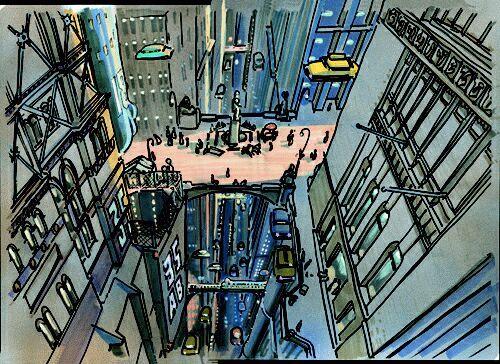 sketch pour le film The Fifth Element,   par Jean-Claude Mézières.