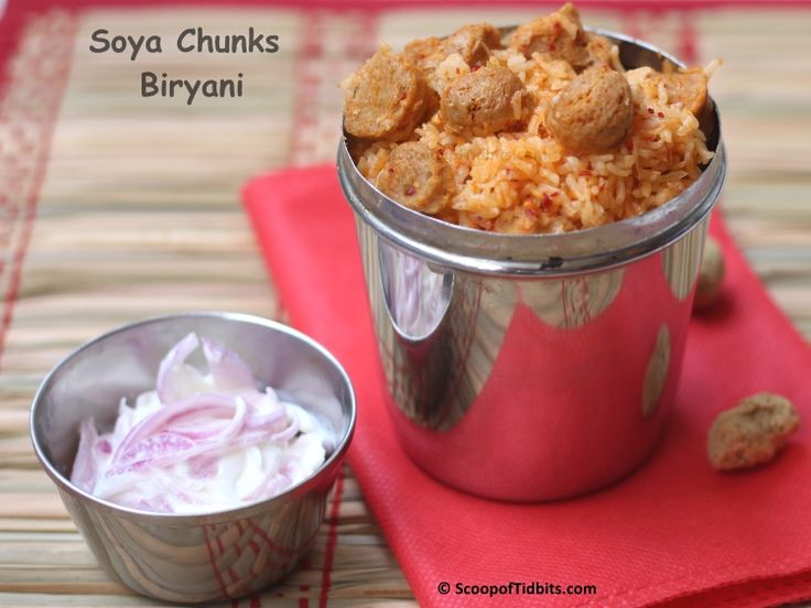 Soya Chunks Biryani or Nugget Biryani as we call it at home is a protein rich delicious South Indian style rice preparation with soya chunks as the star in
