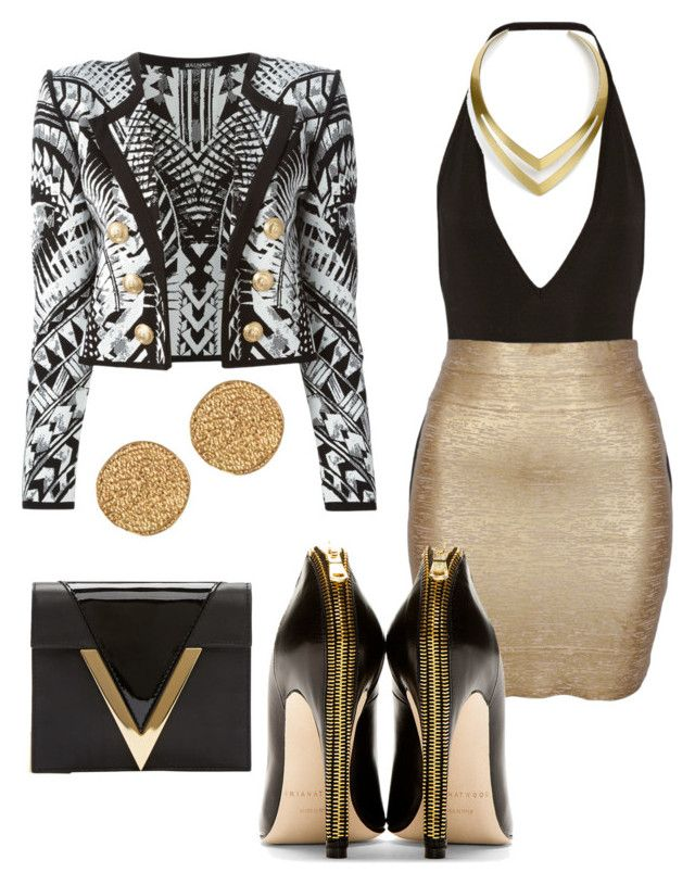 Untitled #50 by failed-fashionista on Polyvore featuring polyvore fashion style Balmain Minty Meets Munt Givenchy Brian Atwood Versus Karen Kane Jules Smith clothing