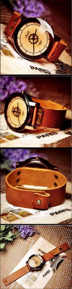 Stan vintage watches — Handmade vintage leather wrist watch, Ladies Quartz Watch (WAT0021)