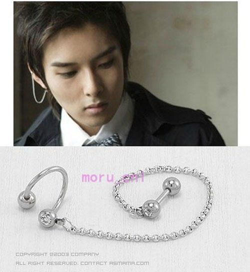 Korean Super Junior Kim Ryeowook S Earring And Ear Lip Stud Link Set Sj