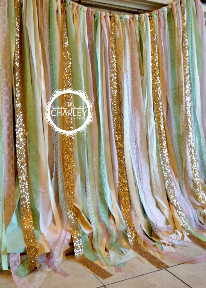 Pink mint gold sparkle sequin fabric backdrop with lace for Baby themed fabric