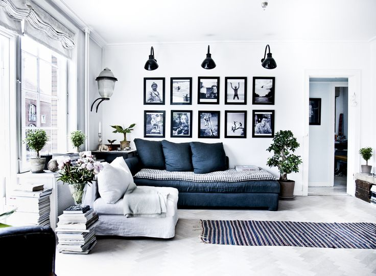 Living Room White Blue Navy Gray Black Sconces Light Wall Gallery Pictures Frames Stacked Books