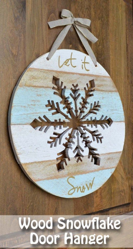 Wood snowflake door hanger