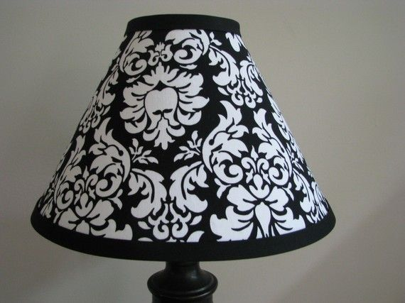 I don't just want this, I need this for my art room!   Black and White Damask Lamp shade Bedroom by Zacharydickorydock, $26.00