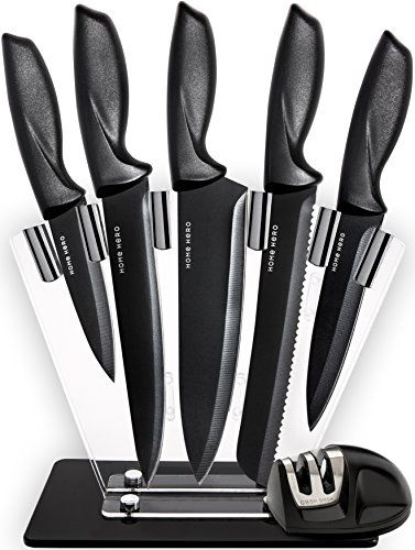 HomeHero 5-Piece Stainless Steel Sharpener and Block Kitchen Knife Set - Everything you need - In one premium knife setOur high-quality knife set offers just the right knife for any possible task, and - as the only one of its kind - even comes with a cutlery stand, knife sharpener and safety finger guard. The blades are made from stainless steel and coated with a non-...