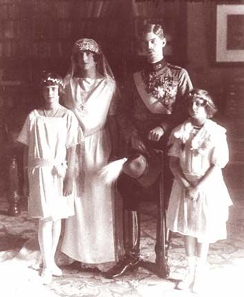 "Wedding portrait of Crown Prince Carol of Romania and his 2nd wife, Princess Helen of Greece and Denmark, daughter of King Constantine I. Their marriage began happily but ended in divorce due to Carol's affair with Elena ""Magda"" Lupescu, who would become his 3rd wife. Carol and Helen's only child, Michael, would be the last king of Romania."