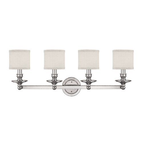 Capital Lighting 1239PN-451 Midtown 4-Light Vanity Fixture, Polished Nickel by Capital Lighting. Save 38 Off!. $176.05. From the Manufacturer                The Capital Lighting 1239PN-451 Midtown 4-Light Vanity Fixture exudes fine details and a classic design. The sleek Polished Nickel supports, beautifully cradle the decorative White fabric shades (6-Inch wide by 5-1/4-Inch high). Whether you are looking for that perfect sconce for your bedroom, hallway or vanity; the rolled ...