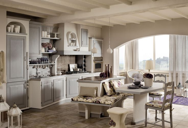 Cucine Zappalorto  Sogno grigio spazzolato, con effetto muro bianco frattonato e piano in ceramica Joy.