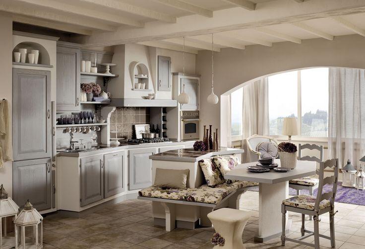 Cucine zappalorto sogno grigio spazzolato con effetto muro bianco frattonato e piano in - Cucina in muratura bianca ...