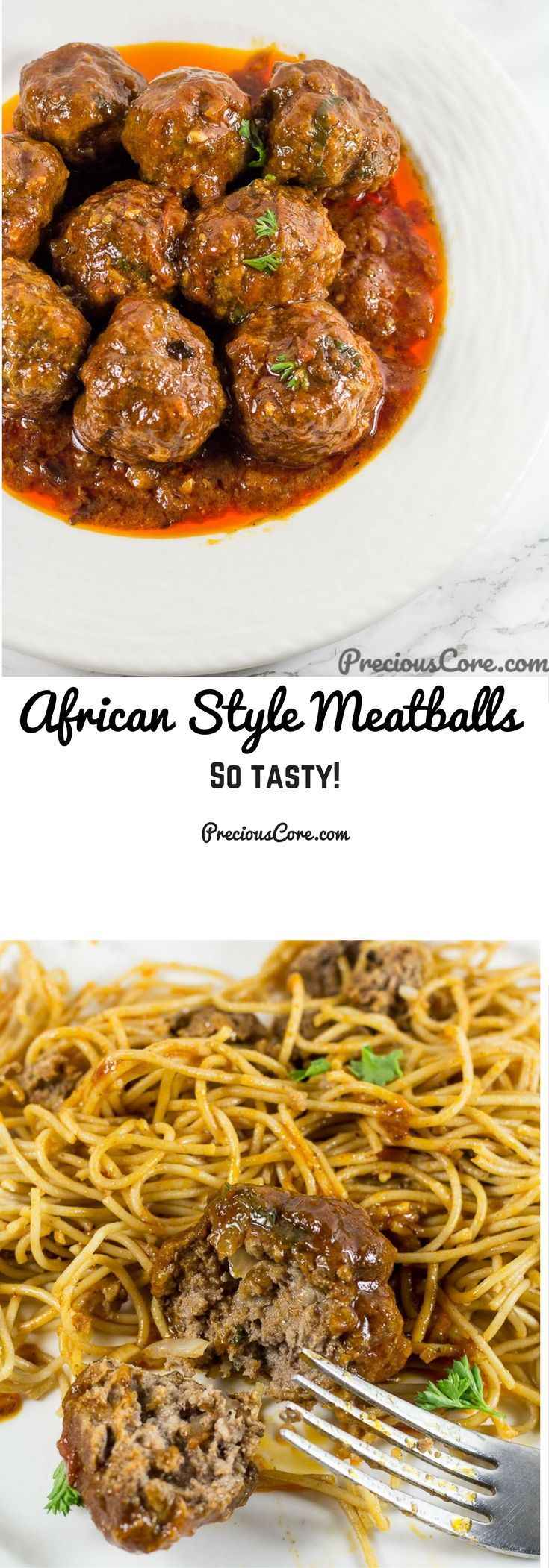 These African meatballs are made with garlic, parsley, onions and my all-time favorite spice, white pepper! They are simmered in an insanely flavorful tomato sauce. In my home, we eat this with pasta or rice. So good! Get the recipe on Precious Core. #Meatballs #AfricanFood #Dinner