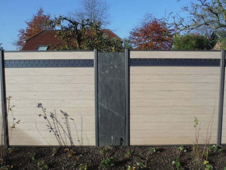 Wpc Sichtschutz Mit Edelstahl : WPC Steckzaun mit Zierelement aus Edelstahl und mit Schieferplatten