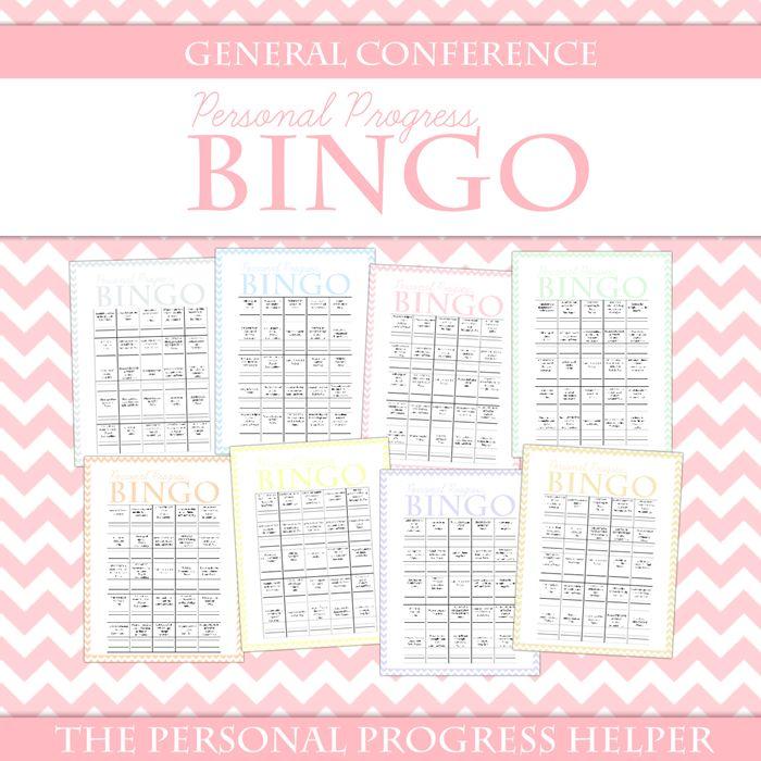 Personal Progress BINGO for General Conference from The Personal Progress Helper!