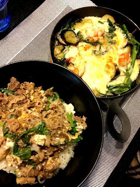 野菜嫌いな息子も美味しいとパクパク食べてくれました(^_^) - 28件のもぐもぐ - 息子の晩ご飯牛肉と春菊、卵の柳川風☆  海老、なす、春菊、じゃがいも、茎ブロッコリーのグラタン by zc