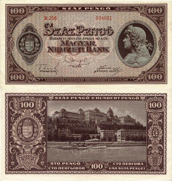 100 pengős bankjegy, hátoldalán a budai királyi palota. Forgalomban 1926-33-ig és 1945-46-ig.