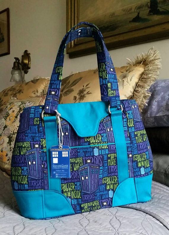 Doctor Who TARDIS phrases expandable purse -Swoon Harriet $115