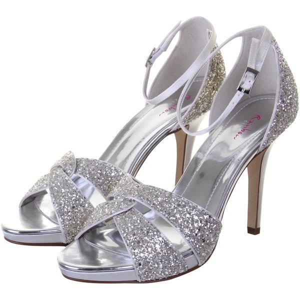 Rainbow Club Charlotte Glitter Stiletto Sandals, Silver (770 VEF) ❤ liked on Polyvore featuring shoes, sandals, heels, high heels stilettos, heeled sandals, flat sandals, strappy sandals and silver glitter sandals