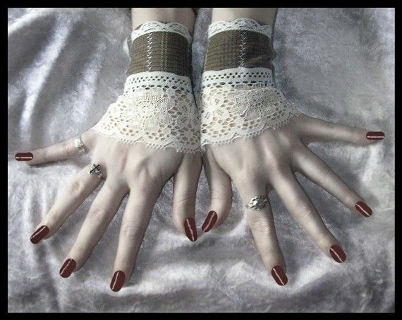 $32  The Doctor's Daughter Fingerless Glove Wrist Cuffs Soft Brown Flannel Backed Suiting - Cream Lace - Victorian Chic Boho Edwardian Wedding  <3 www.SweetStart.us Weddings@SweetStart.us