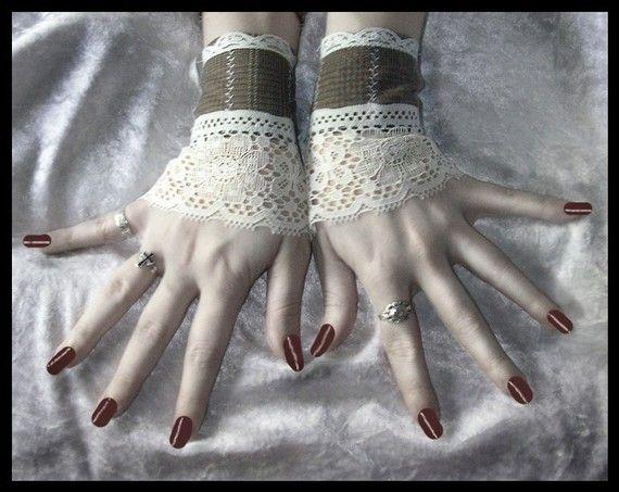 $32  The Doctor's Daughter Fingerless Glove Wrist Cuffs Soft Brown Flannel Backed Suiting - Cream Lace - Victorian Chic Boho Edwardian Wedding  <3 www.SweetStart.us Weddings@SweetStart.us