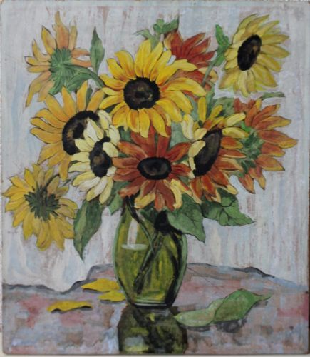 Sunflowers-in-a-Vase-acrylic-painting-on-hardboard