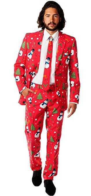 Men's novelty Christmas suit. Snowmen, Christmas trees and more xmas suit in red