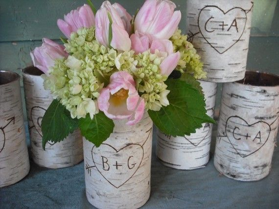 Love this for an outdoorsy/rustic wedding. All of her stuff is from birch!: Bark Vases, Birches, Decoration, Wedding Ideas, Birch Bark, Diy, Wedding Centerpieces, Flower